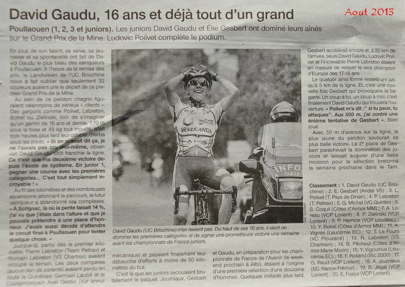David Gaudu article de presse aout 2013