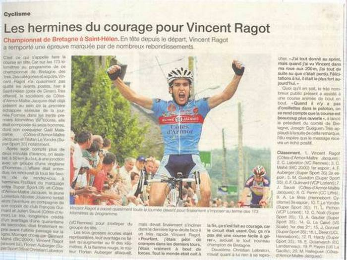 Vincent Ragot Article de presse  juin 2007.